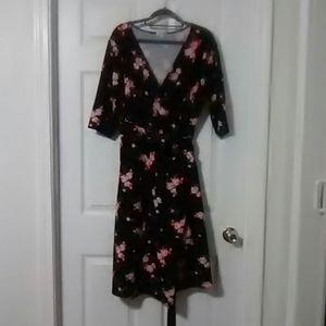 Floral true wrap dress